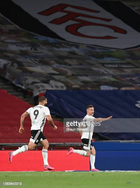 Joe Bryan of Fulham celebrates after scoring his sides second goal during the Sky Bet Championship Play Off Final match between Brentford and Fulham...