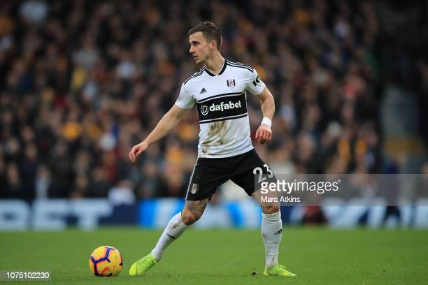 Joe Bryan of Fulham during the Premier League match between Fulham FC and Wolverhampton Wanderers at Craven Cottage on December 26 2018 in London...