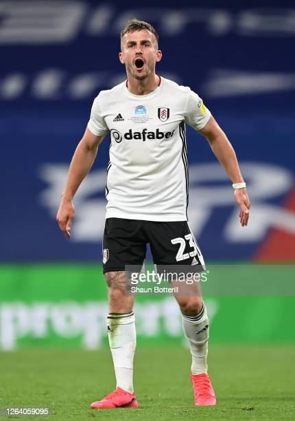 Joe Bryan of Fulham during the Sky Bet Championship Play Off Final match between Brentford and Fulham at Wembley Stadium on August 04 2020 in London...