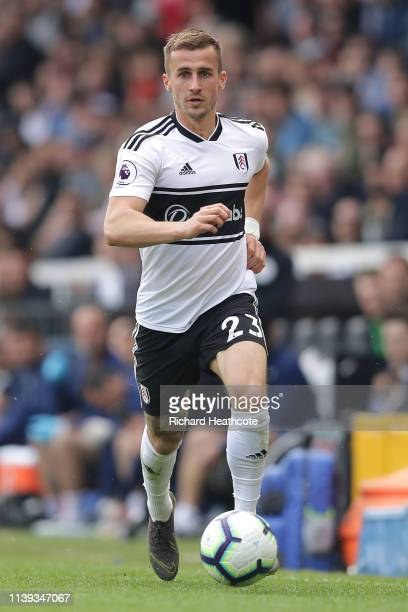 Joe Bryan of Fulham in action during the Premier League match between Fulham FC and Manchester City at Craven Cottage on March 30 2019 in London...