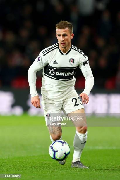 Joe Bryan of Fulham runs with the ball during the Premier League match between Watford FC and Fulham FC at Vicarage Road on April 02 2019 in Watford...