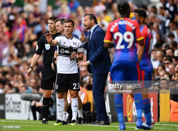 Joe Bryan of Fulham speaks with Slavisa Jokanovic Manager of Fulham during the Premier League match between Fulham FC and Crystal Palace at Craven...