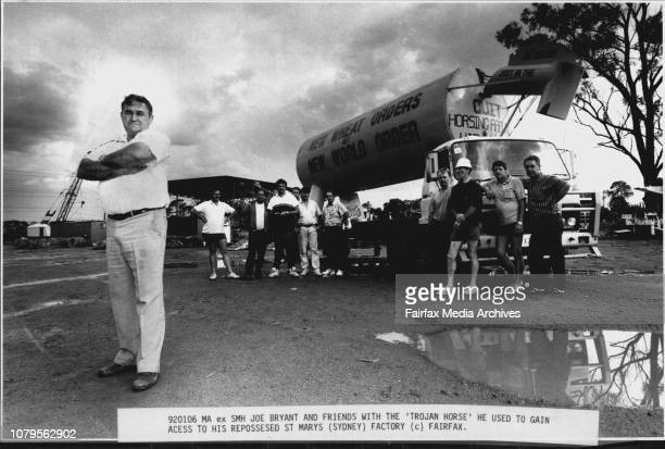 Joe Bryant and friends with the 'Trojan Horse' He used to gain Acess to his Repossessed st MarysA Sydney Businessman invaded his repossessed St Marys...
