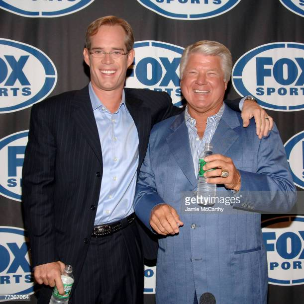 Joe Buck and Jimmy Johnson during a press conference to announce the new Fox football broadcasting team for Fox Sports at the News Corp Building in...