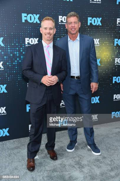 Joe Buck and Troy Aikman attend the 2017 FOX Upfront at Wollman Rink Central Park on May 15 2017 in New York City
