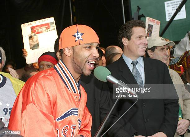 Joe Budden and Andrew Cuomo during The New York City Hip Hop Summit Rally for the Repeal of the Rockefeller Drug Laws at City Hall in New York City...