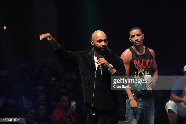 Joe Budden and Hollow Da Don compete at Total Slaughter hosted by Shady Films and WatchLOUDcom at Hammerstein Ballroom on July 12 2014 in New York...