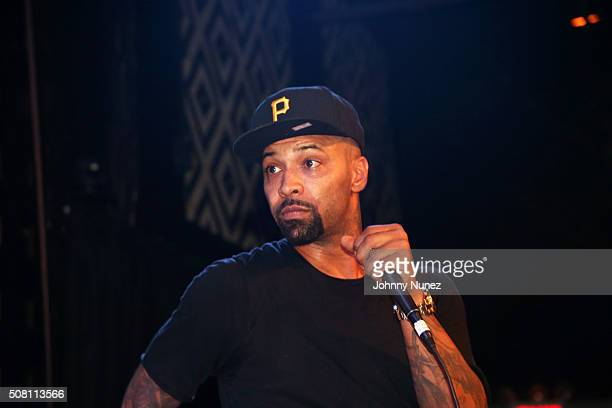 Joe Budden performs during a live taping of #illnamethispodcastlaterat SOB's on February 2 2016 in New York City