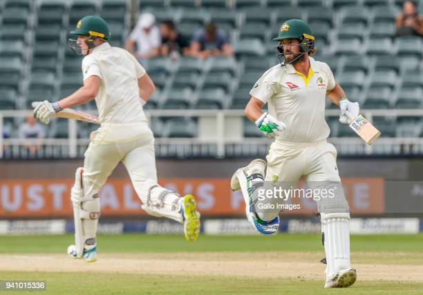 Joe Burns and Matthew Renshaw of Australia during day 4 of the 4th Sunfoil Test match between South Africa and Australia at Bidvest Wanderers Stadium...
