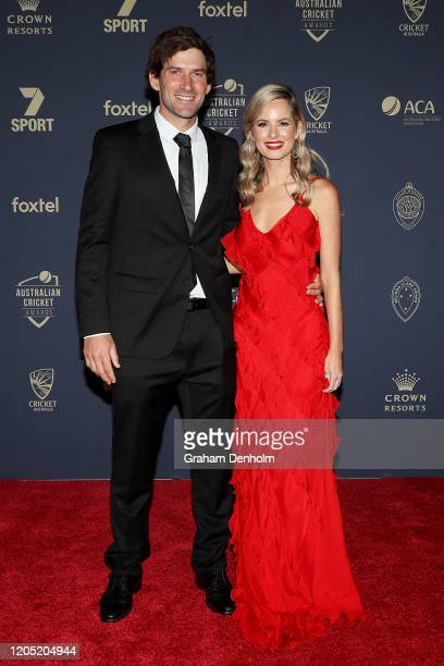 Joe Burns and partner Ashlee Smale arrive ahead of the 2020 Cricket Australia Awards at Crown Palladium on February 10 2020 in Melbourne Australia