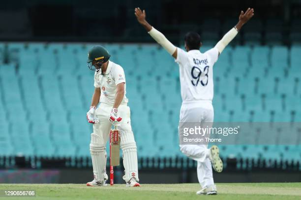 Joe Burns of Australia A reacts after being dismissed by Jasprit Bumrah of India during day one of the tour match between Australia A and India at...