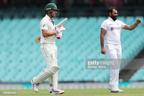 Joe Burns of Australia A walks from the field after being dismissed by Mohammed Shami of India during day three of the Tour Match between Australia A...