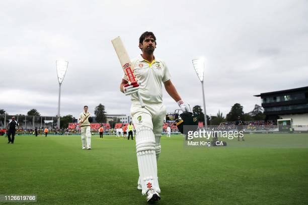 Joe Burns of Australia acknowledges the crowd at stumps after scoring 172 not out during day one of the Second Test match between Australia and Sri...