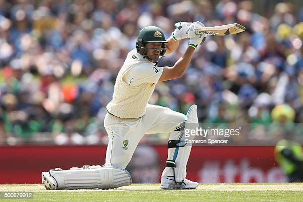Joe Burns of Australia bats during day one of the First Test match between Australia and the West Indies at Blundstone Arena on December 10 2015 in...