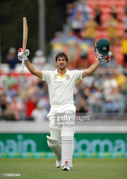 Joe Burns of Australia celebrates after reaching his century during day one of the Second Test match between Australia and Sri Lanka at Manuka Oval...