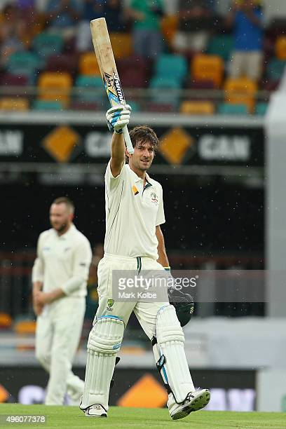 Joe Burns of Australia celebrates after reaching his century during day three of the First Test match between Australia and New Zealand at The Gabba...