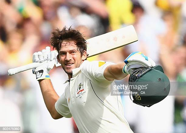 Joe Burns of Australia celebrates after reaching his century during day one of the Second Test match between Australia and the West Indies at the...