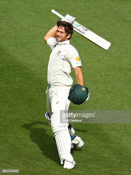 Joe Burns of Australia celebrates as he reaches his century during day one of the Second Test match between Australia and the West Indies at the...