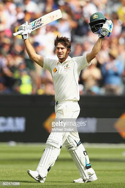Joe Burns of Australia celebrates his century during day one of the Second Test match between Australia and the West Indies at Melbourne Cricket...