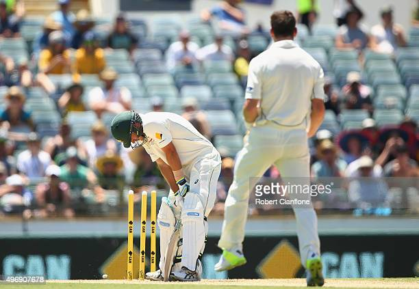 Joe Burns of Australia is bolwed by Matt Henry of New Zealand during day one of the second Test match between Australia and New Zealand at the WACA...