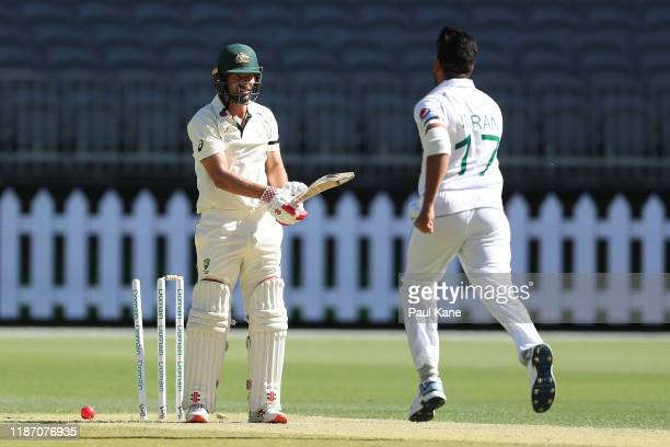 Joe Burns of Australia is bowled by Imran Khan of Pakistan during day two of the International Tour match between Australia A and Pakistan at Optus...
