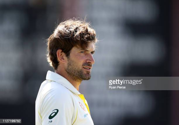 Joe Burns of Australia looks onnduring day four of the Second Test match between Australia and Sri Lanka at Manuka Oval on February 04 2019 in...