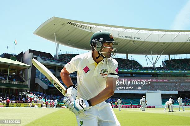 Joe Burns of Australia walks out to bat during day two of the Fourth Test match between Australia and India at Sydney Cricket Ground on January 7,...