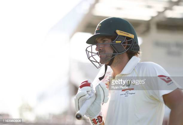 Joe Burns of Graeme Hick XII walks out to bat during day two of the Australian Cricket Team Ashes Tour match between Brad Haddin XII and Graeme Hick...