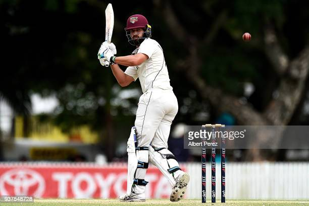 Joe Burns of Queensland bats during day three of the Sheffield Shield Final match between Queensland and Tasmania at Allan Border Field on March 25...