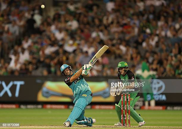 Joe Burns of the Brisbane Heat bats during the Big Bash League match between the Melbourne Stars and the Brisbane Heat at Melbourne Cricket Ground on...