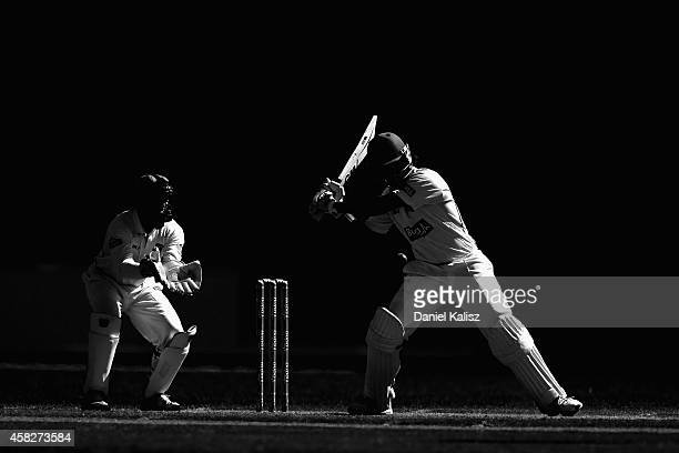 Joe Burns of the Bulls bats during day three of the Sheffield Shield match between South Australia and Queensland at Adelaide Oval on November 2 2014...