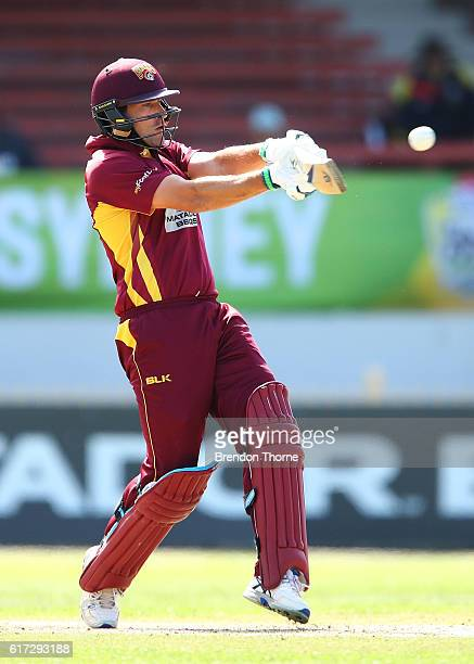 Joe Burns of the Bulls hits for six during the Matador BBQs One Day Cup Final match between Queensland and New South Wales at North Sydney Oval on...