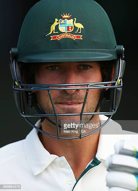 Joe Burns of the Cricket Australia XI prepares to open the batting during the tour match between the Cricket Australia XI and New Zealand at Manuka...
