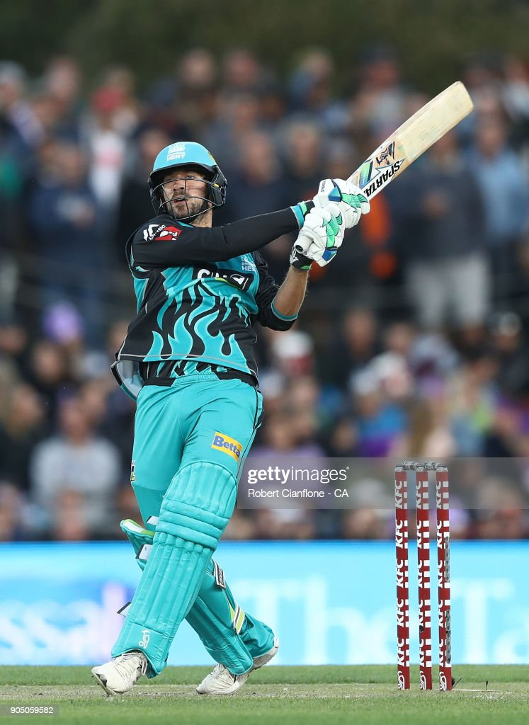 Joe Burns of the Heat bats during the Big Bash League match between the Hobart Hurricanes and the Brisbane Heat at Blundstone Arena on January 15, 2018 in Hobart, Australia.