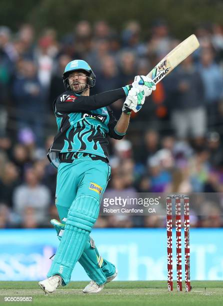 Joe Burns of the Heat bats during the Big Bash League match between the Hobart Hurricanes and the Brisbane Heat at Blundstone Arena on January 15...