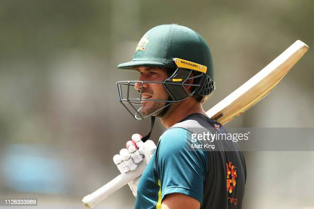 Joe Burns prepares to bat during an Australian Nets session at Manuka Oval on January 31 2019 in Canberra Australia