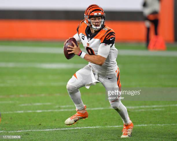 Joe Burrow of the Cincinnati Bengals scrambles against the Cleveland Browns during the second half at FirstEnergy Stadium on September 17, 2020 in...