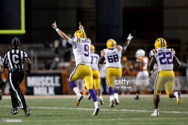 Joe Burrow of the LSU Tigers celebrates after a touchdown pass in the fourth quarter against the Texas Longhorns at Darrell K RoyalTexas Memorial...