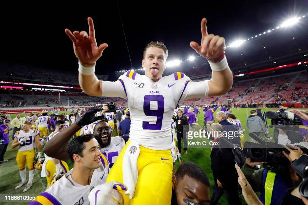 Joe Burrow of the LSU Tigers celebrates defeating the Alabama Crimson Tide 4641 at BryantDenny Stadium on November 09 2019 in Tuscaloosa Alabama