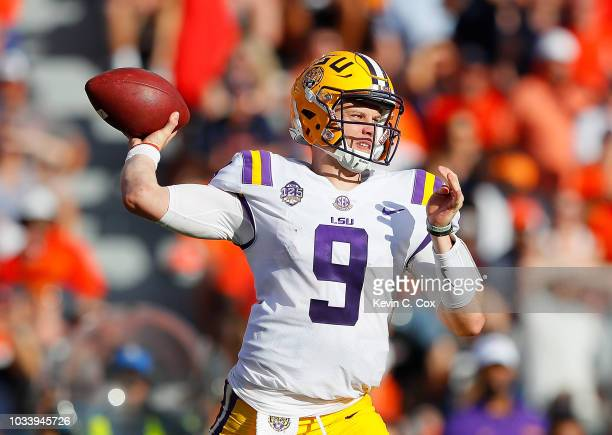 Joe Burrow of the LSU Tigers looks to pass against the Auburn Tigers at JordanHare Stadium on September 15 2018 in Auburn Alabama