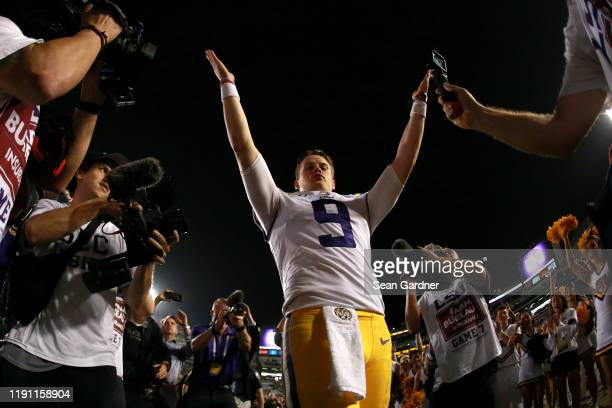 Joe Burrow of the LSU Tigers thanks the fans after his team finished the regular season 120 against the Texas AM Aggies game at Tiger Stadium on...