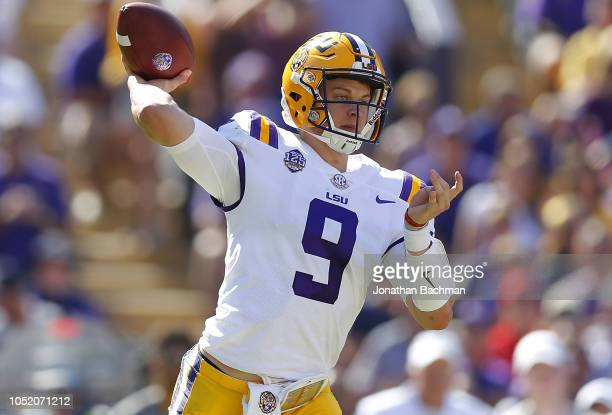 Joe Burrow of the LSU Tigers throws the ball during the first half against the Georgia Bulldogs at Tiger Stadium on October 13 2018 in Baton Rouge...