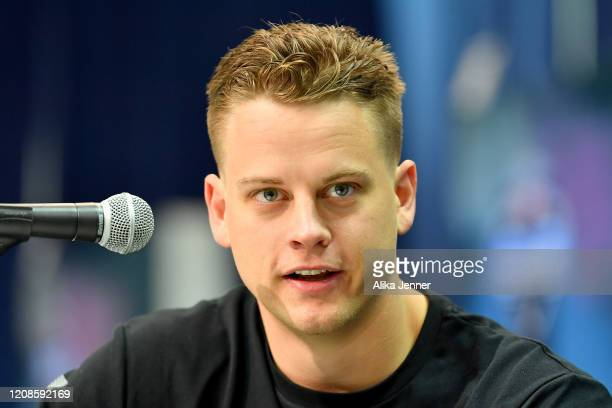 Joe Burrow #QB02 of LSU interviews during the first day of the NFL Scouting Combine at Lucas Oil Stadium on February 25 2020 in Indianapolis Indiana