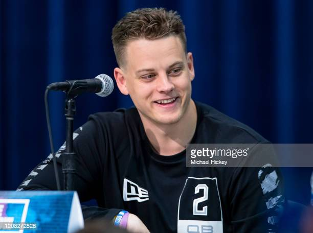 Joe Burrow #QB02 of the LSU Tigers speaks to the media at the Indiana Convention Center on February 25 2020 in Indianapolis Indiana Joe Burrow