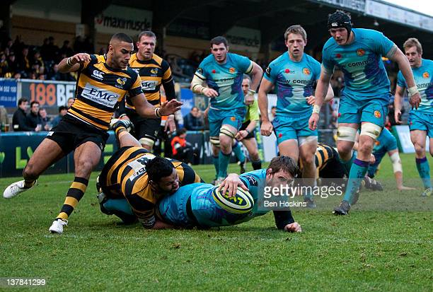 Joe Burton of Exeter scores his team's third try of the game during the LV= Cup match between London Wasps and Exeter Chiefs at Adams Park on January...