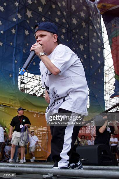 Joe C with Kid Rock performs on the east stage Saturday at Woodstock '99 in Rome New York at Griffiss AFB Park for the 30th Anniversary Concert They...