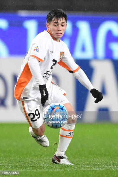 Joe Caletti of Brisbane in action during the AFC Champions League Group E match between Kashima Antlers and Brisbane Roar FC at Kashima Stadium on...