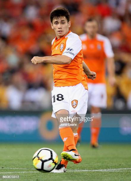 Joe Caletti of Brisbane kicks the ball during the round two ALeague match between the Brisbane Roar and Adelaide United at Suncorp Stadium on October...