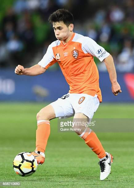 Joe Caletti of the Roar controls the ball during the round one ALeague match between Melbourne City FC and the Brisbane Roar at AAMI Park on October...