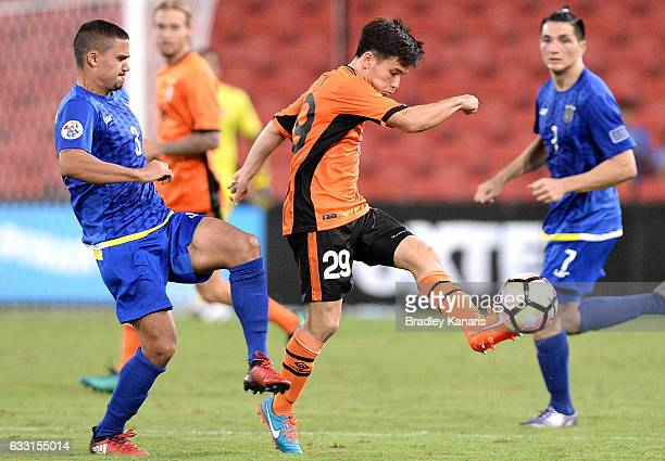 Joe Caletti of the Roar gets a kick away during the Asian Cup Champions League Qualifying Match between Brisbane Roar and Global FC at Suncorp...